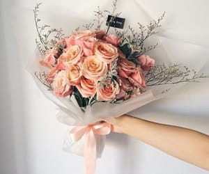 flowers, peach, and love image