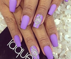 lilac, nails, and rhinestone image