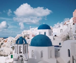 blue, santorini, and vacation image