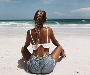 girl, beach, and denim image