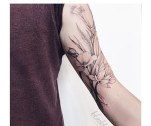 body art, flowers, and blacktattoo image