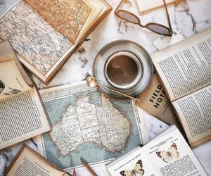 coffee, book, and map image