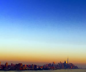 moon, sunset, and new york image