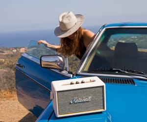 car, girl, and hat image