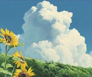 flowers, sky, and anime image