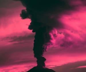 pink, volcano, and smoke image