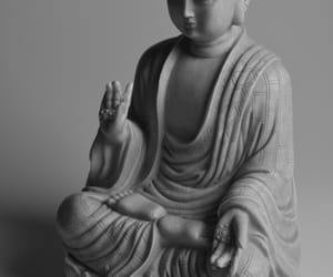 black and white, peace, and buda image