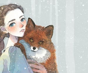 art, fox, and girl image