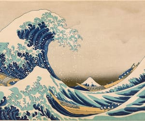 art, waves, and japan image