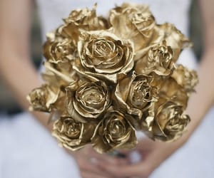 gold, wedding, and bouquet image