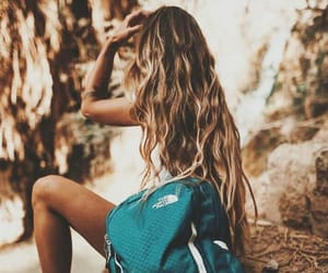 girl, hiking, and north face image