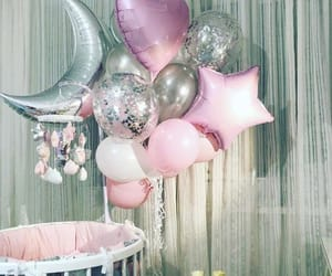baby girl, balloons, and bed image