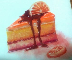 cheesecake, orange, and watercolor image