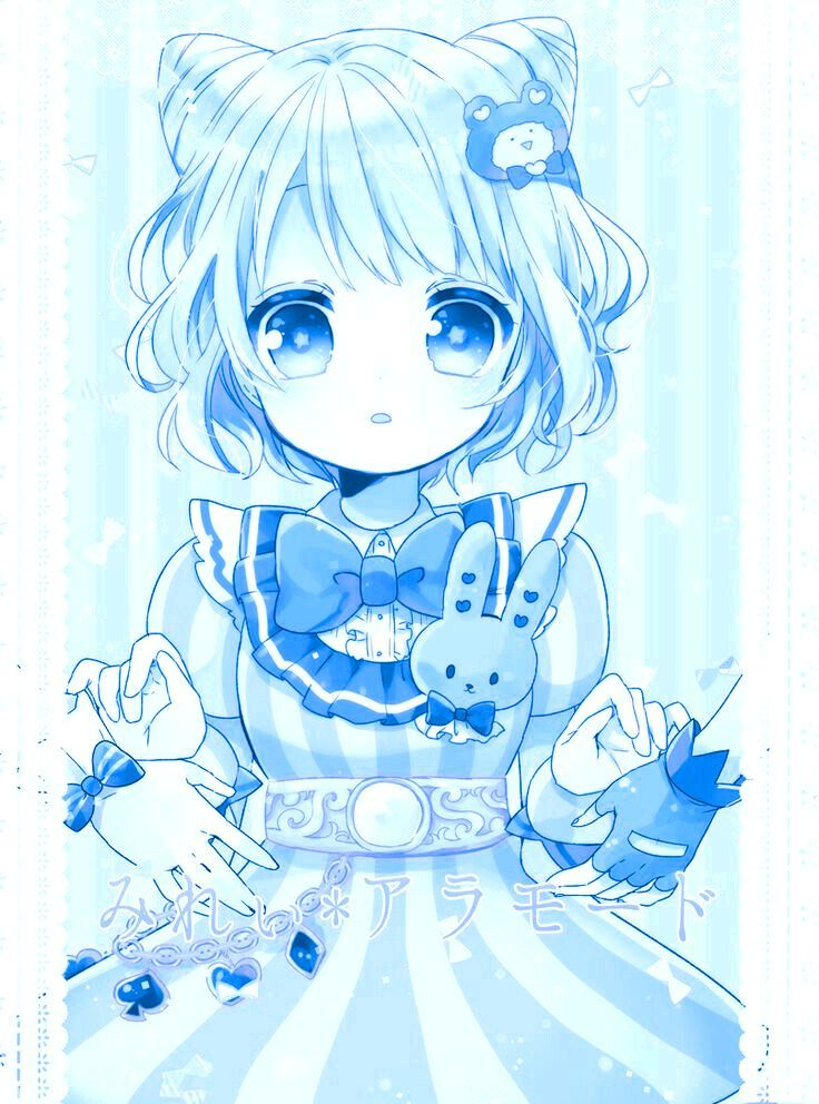 Anime Blue Cute Girl Cystal Aesthetic Art Monochrome Edit By