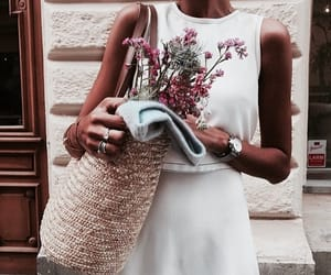 flowers, bag, and girl image