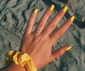 yellow, nails, and scrunchie image