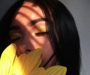 yellow, girl, and makeup image