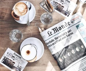 coffee, breakfast, and newspaper image