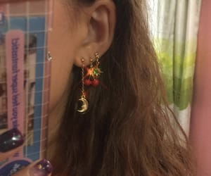 aesthetic, earrings, and cherry image