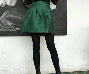 girl, green, and skirt image