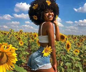 Afro, flower, and black girl image