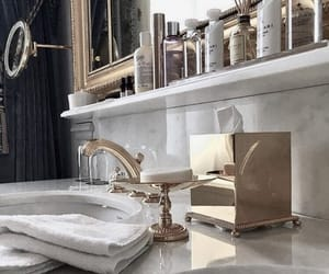 bathroom, gold, and interior image