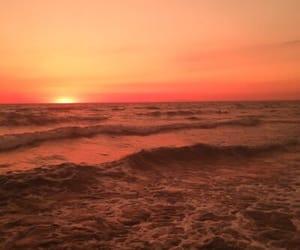 sunset, orange, and ocean image