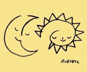 yellow, sun, and moon image