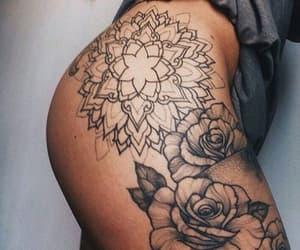 rosas, tatto, and tatuajes en la pierna image