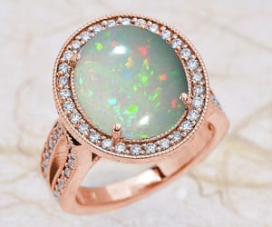 etsy, opal, and opal rose gold ring image