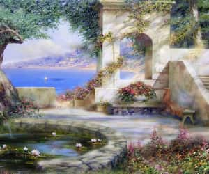 architecture, pond, and sea image