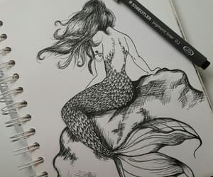 beautiful, dibujo, and mermaid image
