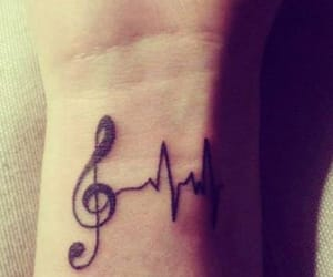 music, treble clef, and tattoo image