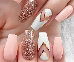 glitter, peach, and pink image