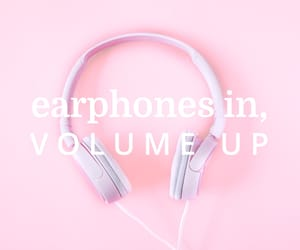 earphones, music, and pink image