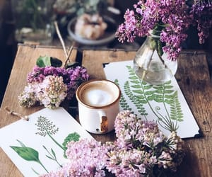 coffee, art, and flowers image