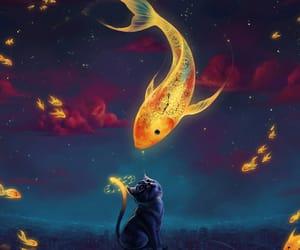 cat, fish, and art image
