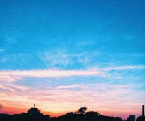 blue, pink, and skyline image