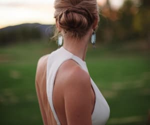 dress, outdoor wedding, and wedding dress image