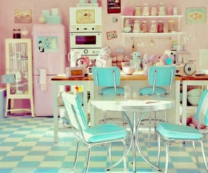 green, retro, and retro kitchen image