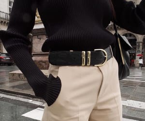 beige, belt, and black image