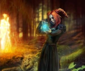 druid dragon magic, redhead dark dress magic, and bonfire magic trees image