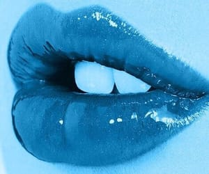 blue lips, lipgloss, and mouth image