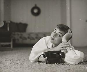 audrey hepburn, black and white, and phone image