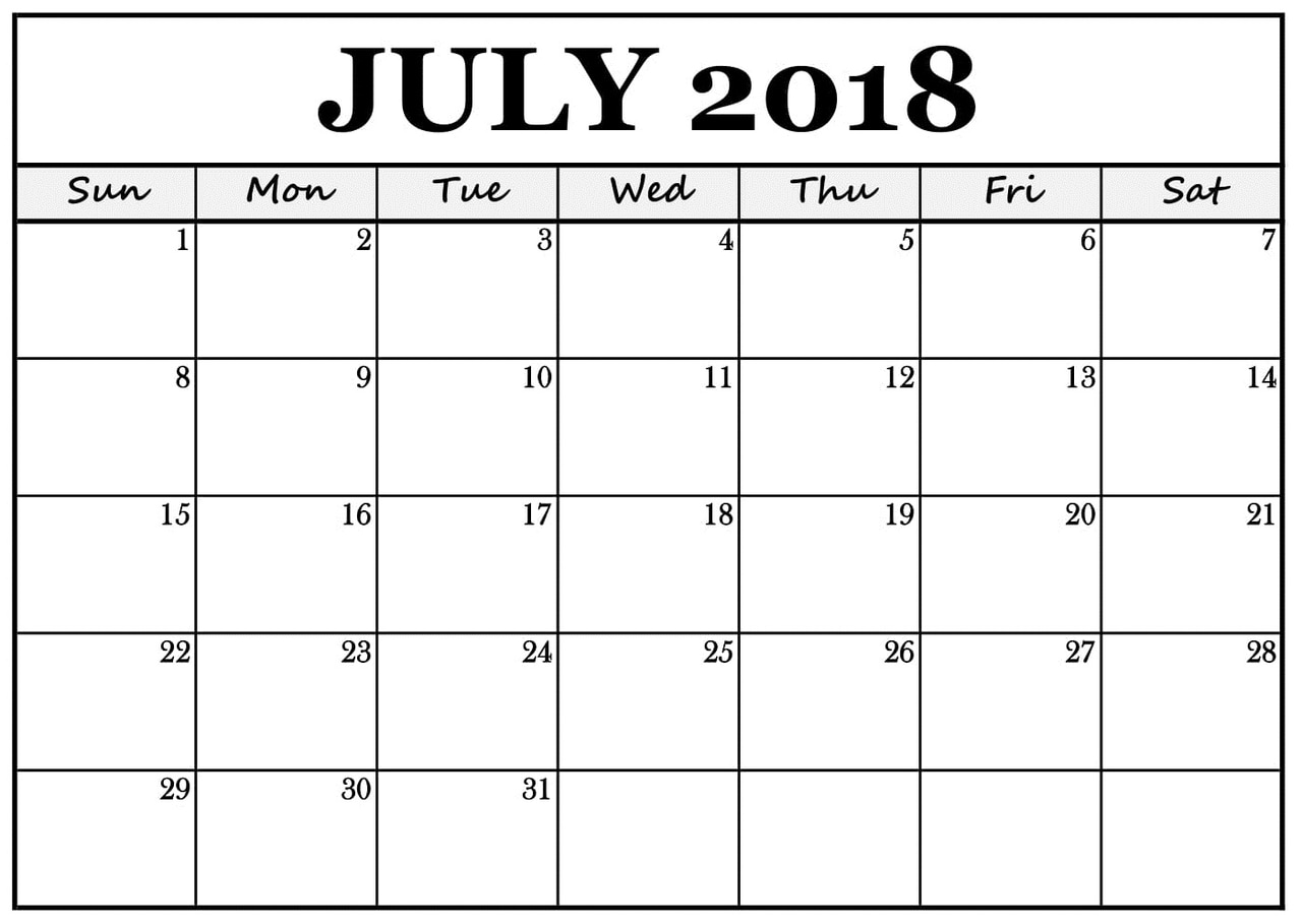 photo about Printable July Calendar identify Calendar 2018 Printable upon We Center It