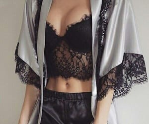 black, lace, and sexy image