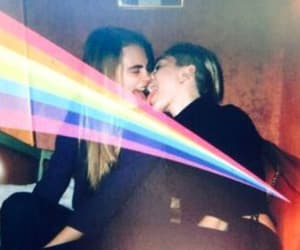 miley cyrus, cara delevingne, and kiss image