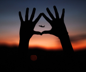 airplane, sky, and sunset image