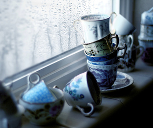 cup, rain, and tea image