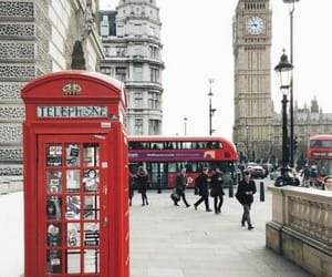 london, travel, and red image